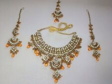 Indian Fashion Amber Colour Cz Gold Bollywood Wedding Necklace Jewelry Set 4 Pcs
