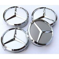 4x New Mercedes Silver Alloy Wheel Centre Hubs Caps 75mm with Chrome Star