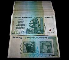50 x Zimbabwe 50 million dollar banknotes-low to mid grade circulated currency