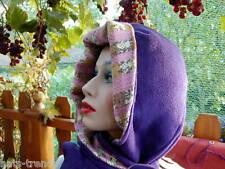 Damen Mütze Schalmütze Kapuzenschal Lila Winter Schal Wind warm Wintermütze
