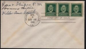 1940 John James Audubon Sc 874 FDC dignitaries & Postmaster, to Wunder