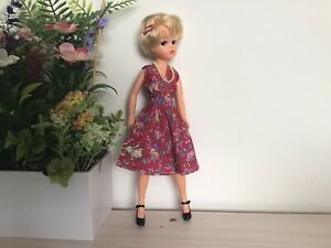Sindy Sized Floral Dress, Shoes, Beads And Hair Clip ( No Doll)