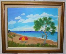Vtg Beach Scene Painting Signed Jean Adams Impressionist Framed Sailboats Tree