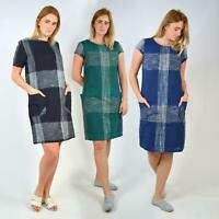 SEASALT 'Rocambole' Check Cotton Lined Tunic Dress Short Sleeve Boat Neck