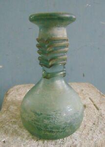 ANCIENT ROMAN GLASS BOTTLE w DECORATIVE THREADED NECK