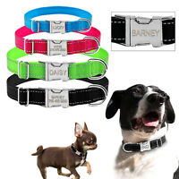Reflective Personalized Dog Collar Engraved Nameplate Dog ID Collar XS S M XL