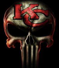 (2) Kansas City Chiefs Punisher Skull Car Window Vinyl Stickers 5x4 NFL Decal