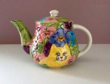 C B K  LTD 1995 Whimsical Cat Teapot Flowers