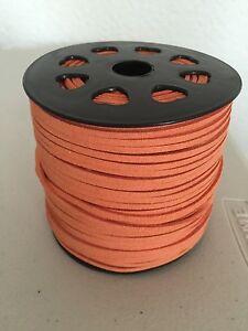 Flat Faux suede orange  3* 1.5mm thread beading buy  5m get 5 m free ribbon cord