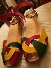 Toffel Hasbeens Swedish Leather Sandal Clogs 40 7 *NEW* Hippy Designer RRP £160