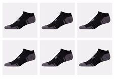 6 Pair UNDER ARMOUR UA 3607 Resistor HeatGear NO SHOW BLACK Men's Socks MEDIUM