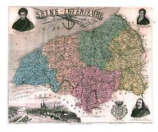 Réédition de gravure ancienne carte région département français Seine-Inférieure