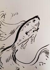 "JOSE TRUJILLO - Contemporary ABSTRACT EXPRESSIONIST INK WASH 18X24"" FISH DECOR"