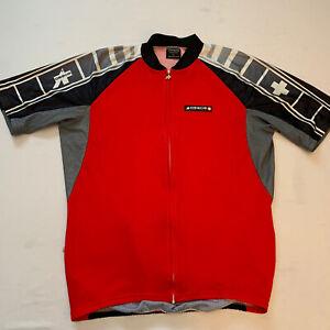 Assos Switzerland Men's Equipe Nikopol Full Zip Red RARE Cycling Jersey Size XL