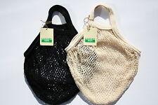 2 X Cadena/Net Bolso de compras hecho de algodón sin blanquear reciclado, Manijas Cortas
