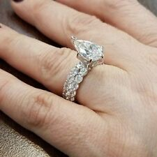 2.91Ct Pear White Diamond Engagement Wedding Ring in Solid 925 Sterling Silver