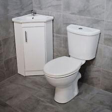 Corner Vanity Unit Bathroom Sink Basin Storage White Gloss + Toilet Cloakroom