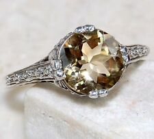 Citrine 925 Solid Genuine Sterling Silver Filigree Ring Jewelry Sz 7