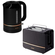 VonShef Kettle and Toaster Set Black Copper 1.5L 2 Slice Electric Cordless Toast