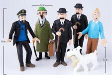 FIGURINES 6 pcs/lot Les Aventures de Tintin Milou tournesol pr Collection Jouet