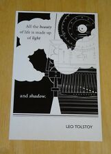 BIBLIOPHILIA POSTCARD 'ALL THE BEAUTY OF LIFE IS MADE UP OF LIGHT..' LEO TOLSTOY