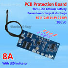 8A 16.8V Protection Board for 4 Packs Li-ion Lithium 18650 Battery Charger w/LED