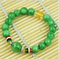 Green 10mm Beads Stone Rhinestone Charms Buddha Bangle Bracelet