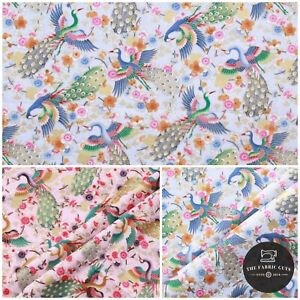 """100% Cotton Ethnic Japanese Peacocks Floral Gold Foil Fabric 60"""" Top Quality"""