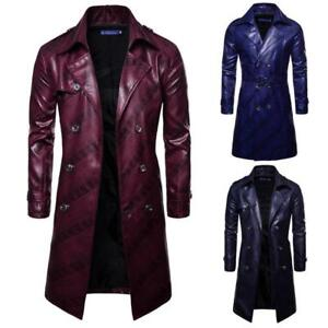 Mens faux Leather Jacket Long Double-breasted Lapel Trench Coat Parka Casual