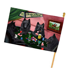 Home of Belgian Shepherd 4 Dogs Playing Poker House Flag