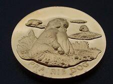 1.24 OZ (environ 35.15 g) argent chien de prairie/Amériques Héritage Naturel Or 24K sur Sterling Rond