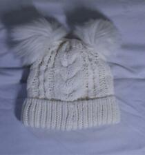 Gap Girl's Solid Color Toddler Cable-Knit Pom Beanie JM4 Ivory Frost Size XS