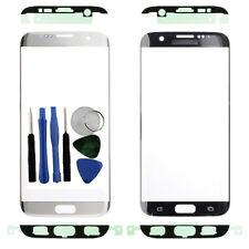 Per Samsung Galaxy S7 bordo G935F Anteriore Esterno Schermo in Vetro Argento Adesivo Tools