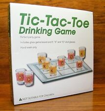 Tic-Tac-Toe Drinking Game - Glass Game Board & Shot Glass *IN BOX*