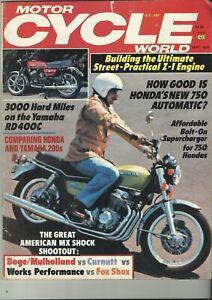 Motor Cycle World Magazine Sept 1978 Yamaha RD400c. Kawasaki Z-1 Engine build.