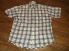 Men's DOCKERS Short Sleeve Button Front Shirt Sz Large L 100% Cotton Blue