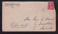 USA 1896 LAWYERS COVER EL RENO OKLAHOMA TERRITORY WICHITA & FORT WORTH RPO