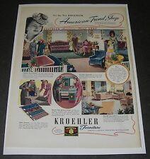 Print Ad 1941 FURNITURE Kroehler ART Showroom Displays Styles Fashion Fabric