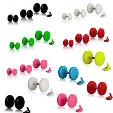Fake Plug Tunnel Ohrstecker Ohrring Piercing in 5 Farben und Größe wählbar