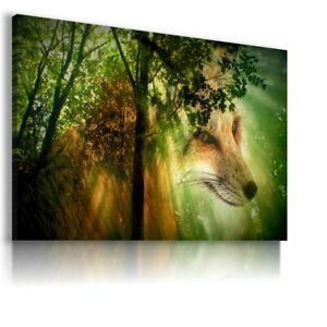 FANTASY WORLD FOREST FOX ANIMALS TREES Canvas Wall Art F224 MATAGA . NO FRAME