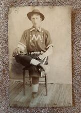 19Th Century Rppc Of Baseball Player - Glove Spikes Classic Collared Uniform