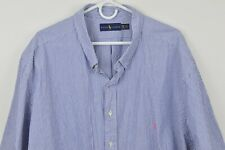 Ralph Lauren 4XB Big Striped Short Sleeve Shirt Button Down Cotton Blue White