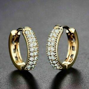 2.00 Ct Round Cut Diamond Huggie Hoop Earrings Solid 14K Yellow Gold Finish