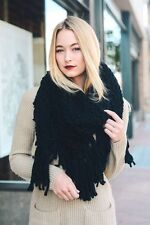Thick Soft Chunky Knit Black Triangle Wrap Scarf TS
