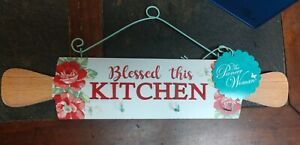 NEW The Pioneer Woman  BLESSED THIS KITCHEN Rolling Pin sign - RARE FIND