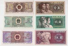 China 1, 2 und 5 Jiao(0,10/ 0,20 und 0,50 Yuan) Banknote Papiergeld UNC 1980