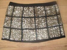 Fab Gold Sequin Mini Skirt - Warehouse - Size 16 Fully Lined