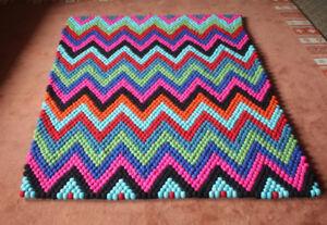 Zig Zag Pattern Rectangular Felt Carpets, Felt Ball Rugs 6x4 ft-FR031