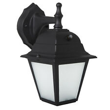 Maxxima LED Outdoor Wall Light Black w/ Frosted Glass Photocell Sensor 700 Lumen