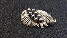 Deco Pin with Marcasite Stones New Sterling Silver Black Pearl